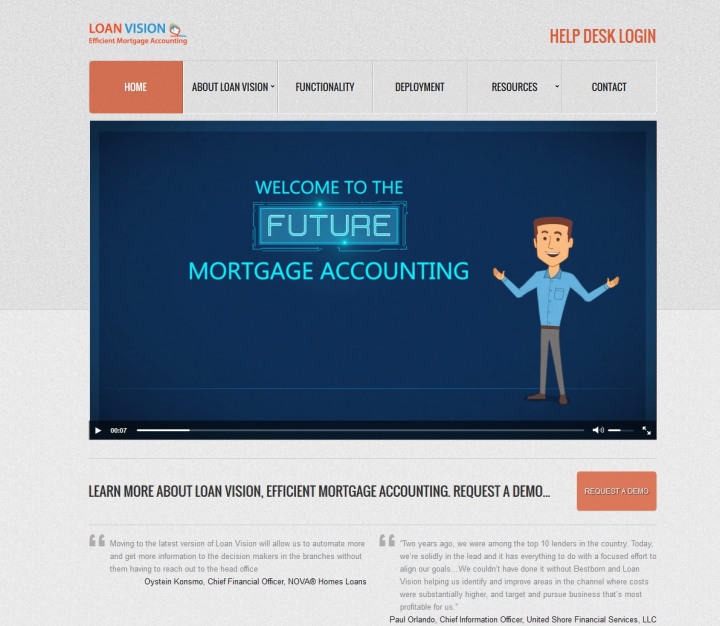 Loan Vision Mortgage Accounting Website